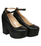 Ruby demi wedge ankle strap shoe in black