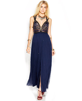 Free people golden chalice sequin studded maxi dress