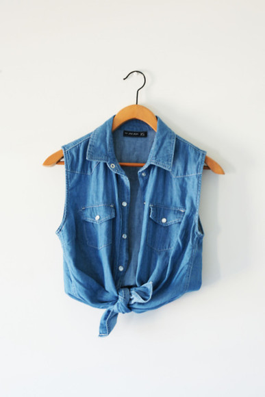 denim shirt blue shirt tank top blue crop tie t-shirt jeans tshirt button up blouse denim jacket