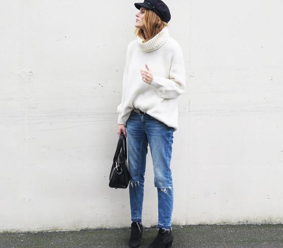oversized sweater jeans bag sara strand blogger Belt
