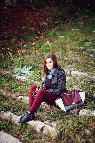 once upon a time blogger jeans scarf jewels bag leopard print cardigan studded shoes burgundy