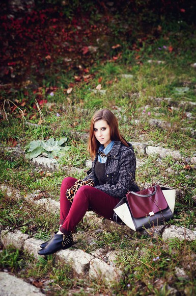studded shoes blogger jeans bag jewels once upon a time scarf leopard print cardigan burgundy