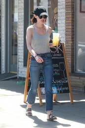 jeans,top,grey tank top,lucy hale,streetstyle