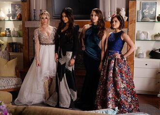 dress gown maxi skirt high low dress aria montgomery lucy hale shay mitchell ashley benson emily fields spencer hastings pretty little liars prom dress hanna marin troian bellisario skirt top