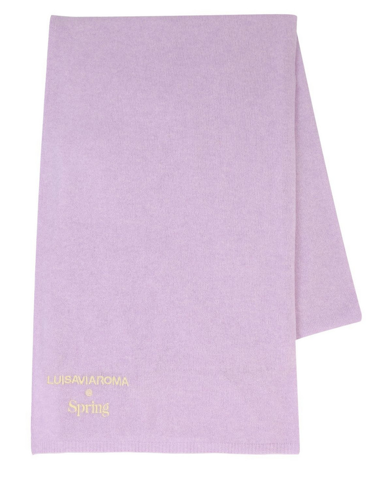LUISA VIA ROMA Cashmere Knit Scarf in purple