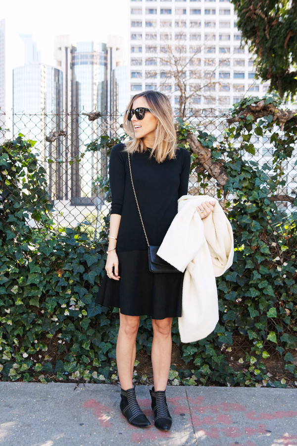 damsel in dior sweater coat skirt shoes