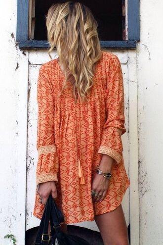 dress boho dress clothes boho orange