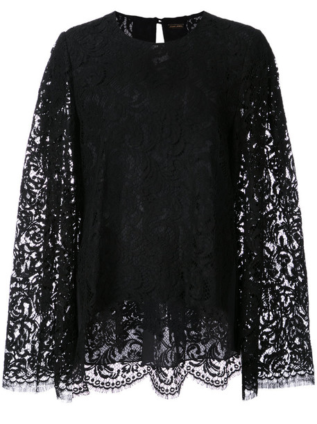 Adam Lippes blouse women fit lace cotton black top