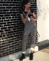 jumpsuit,girly,checkered,overalls,suspenders,black and white