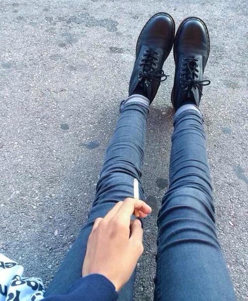 jeans shoes black shoes blue jeans ciggarette