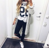 cardigan,t-shirt,shirt,jeans,jacket,white,white cardigan,black and white cardigan,shoes,coat