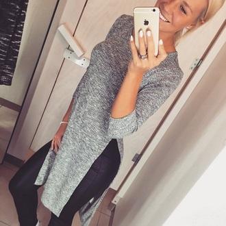 cardigan sweater grey long cut