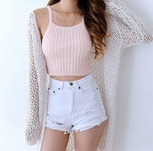 tank top,pink,mango,blouse,cardigan,short,crop tops,dress,shirt,outfit,shorts,sweater,tumblr,white shorts,white,blush pink,halter top,summer outfits,nude,baby pink,summer,girly,cute,beach,top,cute top,girly wishlist,crop,cropped,halter neck,pale,innocent,tumblr pale,boho,chic,girl,knitted cardigan,white cardigan