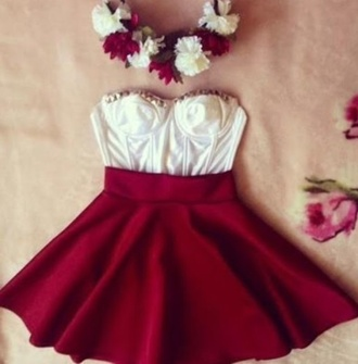 skirt crop tops white valentines day dress valentine