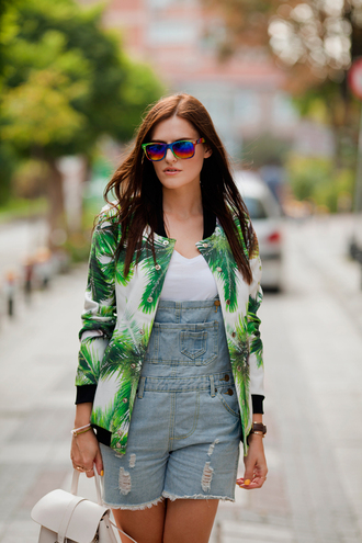 the bow-tie blogger jacket romper palm tree print fashion denim overalls