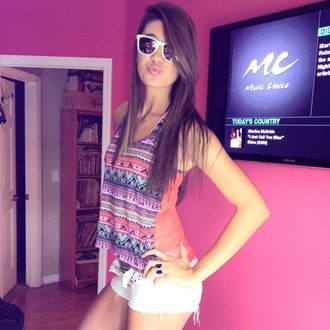 tank top print design girl shades dark sunglasses aztec summer multicolor pattern orange blue purple