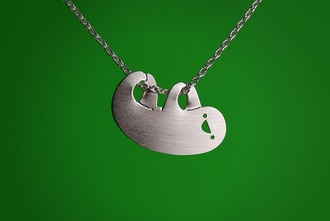 jewels necklace silver jewelry silver silver necklace sloth sloths animal cute