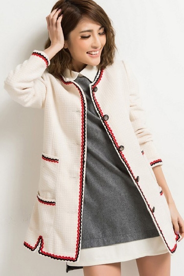Round Collar Single-breasted Fashion Coat [FEBK0131] - PersunMall.com