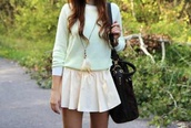 skirt,preppy,indie,pop,boho,white sweater,feather jewelry,black bag