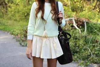 skirt preppy indie pop boho white sweater feather jewelry black bag