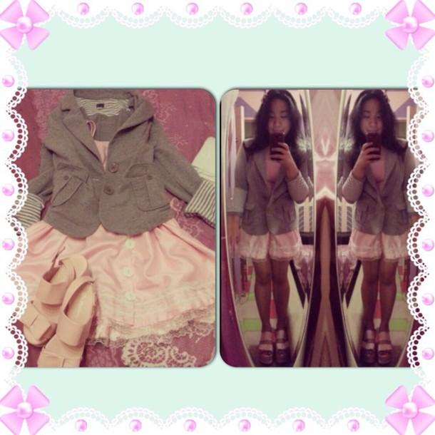 coat pastel pink skirt heels grey