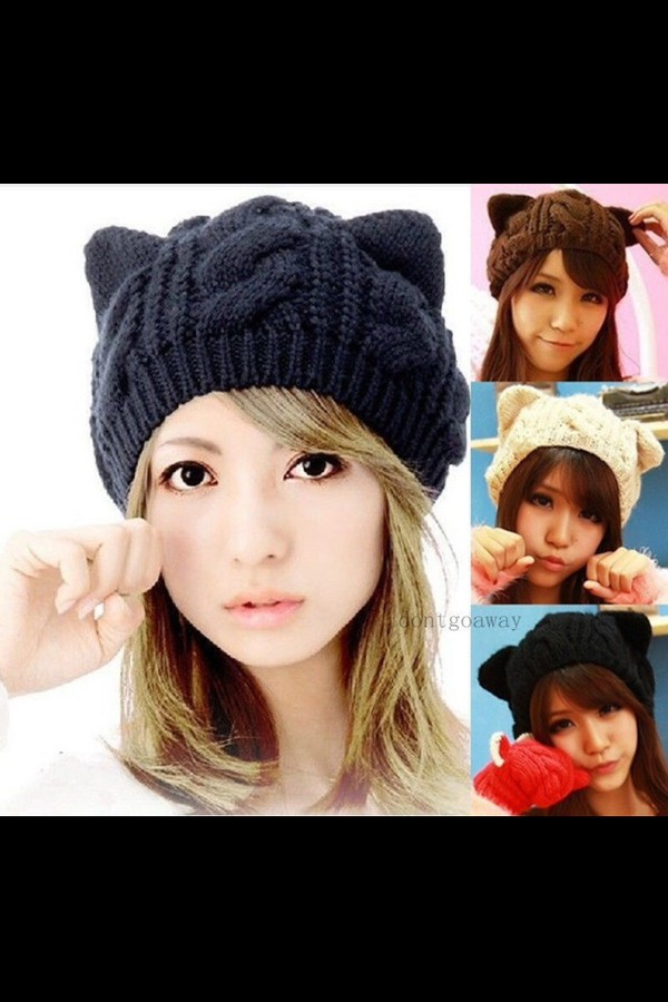 kawaii cat hat cream hat warm hat hat