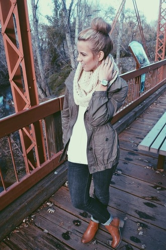 jacket outfit scarf boots watch fall outfits