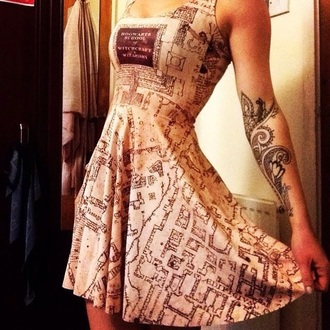 dress harry potter map print