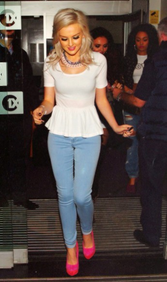 white blouse white blouse perrie edwards little mix peplum