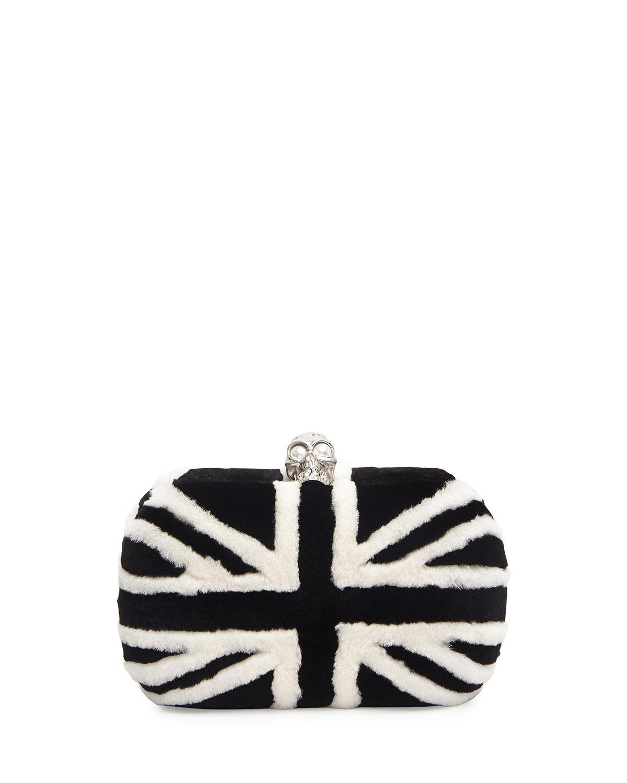 Clasp mink fur clutch bag, black/white