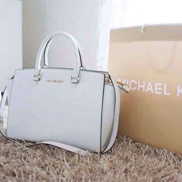 bag satchel purse michael kors white handles beyoncé