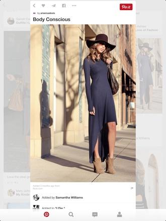 dress navy blue dress fashion floppy hat booty