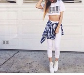 shirt,and,jeans,flannel shirt,flannel,sneakers,heels,high heels,white heels,blue flannel button up shirt,button up blouse,button up shirt,crop tops,top,cropped,shopping,white jeans,high waisted jeans,denim,cardigan,t-shirt,blouse,shoes,jewels,jacket,tank top,crop,white,bar,code,shop,store,cute,teenagers,tumblr,girl,check,plaid,sun,sunny,summer,spring,beach,party,casual