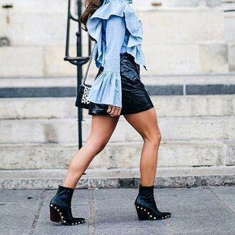 shoes tumblr boho dress boots black boots pointed boots studs studded shoes ankle boots shirt blue shirt ruffle ruffle shirt skirt mini skirt black skirt black leather skirt leather skirt mini skirt and ankle boots