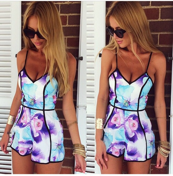 romper jumpsuit dress floral dress floral neon blue white and purple colorful