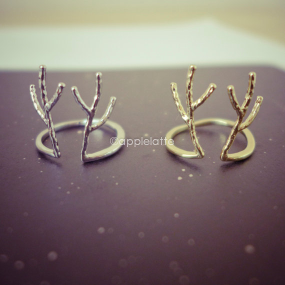 Antler ring in gold or silver, deer ring, stag ring, horn ring, reindeer ring, gold antler ring, rudolph ring, christmas ring