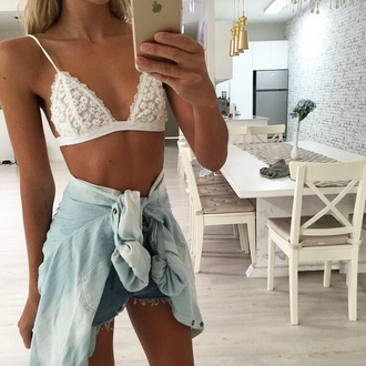 top bralette daisy pattern tumblr outfit underwear bra flowers white lingerie transparen bras