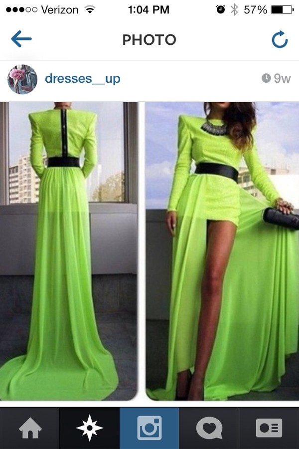 dress green maxi skirt dresses up long neon long sleeves