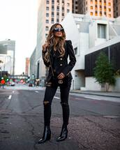 jacket,double breasted,black blazer,black ripped jeans,black boots,heel boots,ankle boots,gucci bag,black bag,velvet,gucci belt,black top