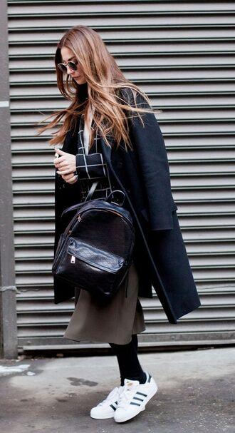 shoes black coat green skirt adidas shoes blogger round sunglasses