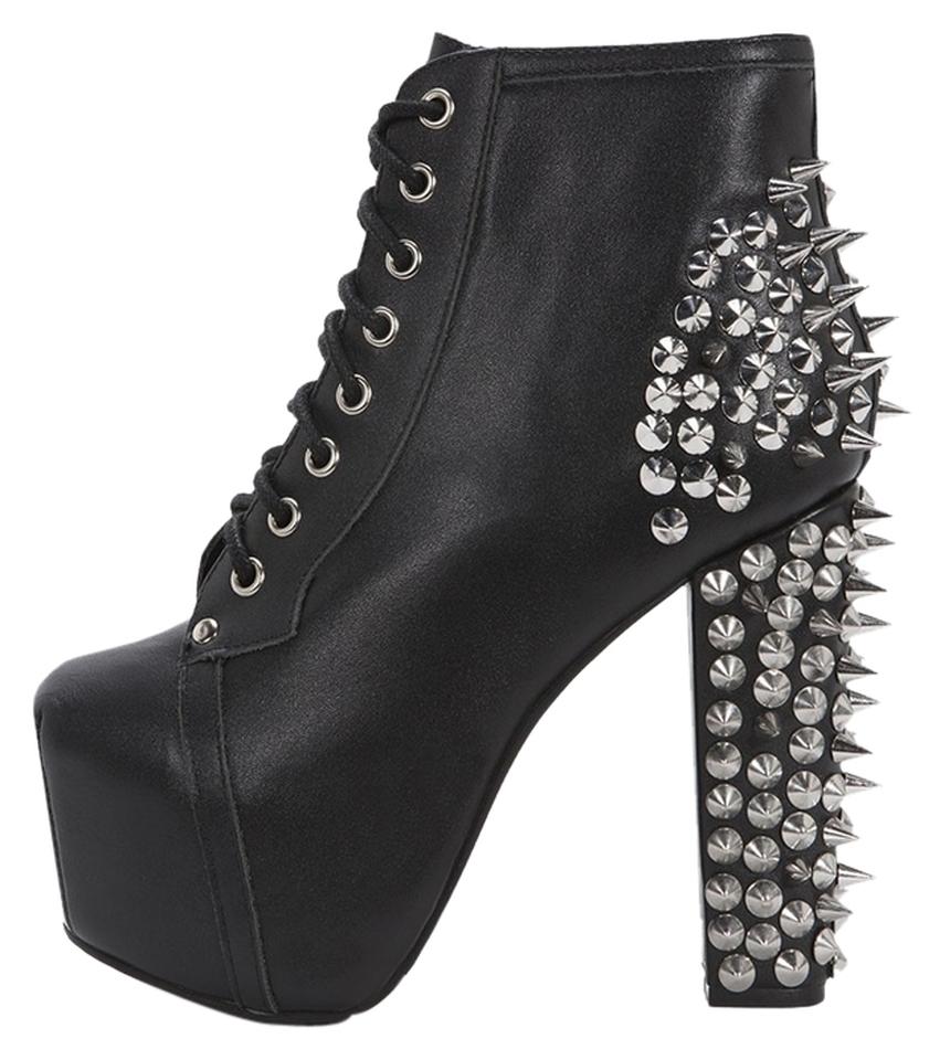 jeffrey campbell spike lita platform black leather silver boots. Black Bedroom Furniture Sets. Home Design Ideas