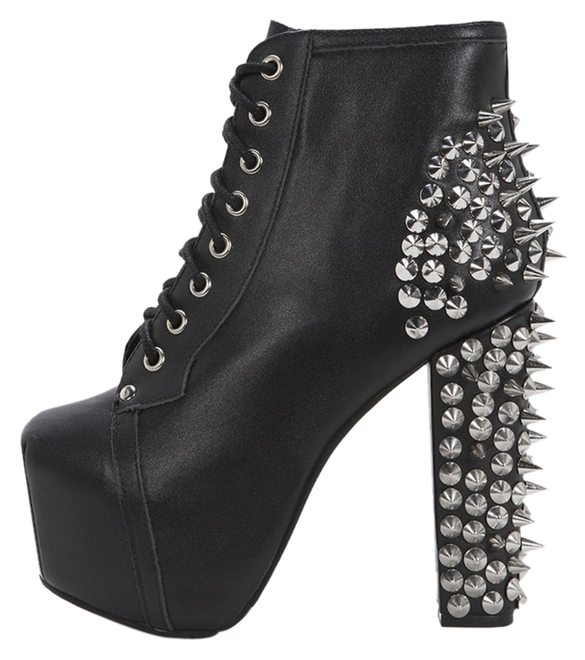 Jeffrey campbell spike lita platform black leather silver boots - Jeffrey campbell lita platform boots ...