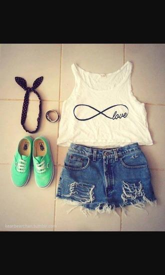 shirt headpiece love shorts green high waisted jeans