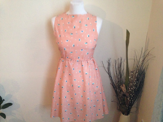 Soft stunning skater skirt printed bright simple comfortable dress with a elastic waist handmade