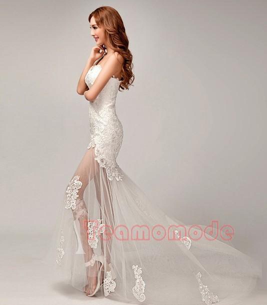 Dress Sexy Brautkleid Ein Schulter Brautkleid Stickerei