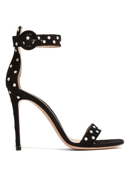 Gianvito Rossi - Portofino 100 Studded Suede Sandals - Womens - Black White