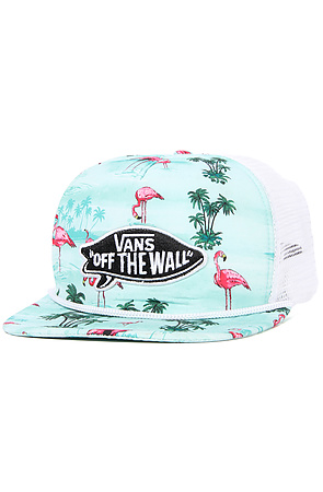 42480383d9e Vans The Pink Flamingo Trucker Hat in Blue Atoll Flamingo ...