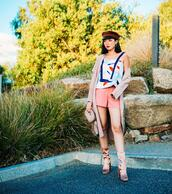 olivia lazuardy,blogger,top,shorts,jacket,shoes,hat,pink shorts,spring outfits,blazer,boots,fisherman cap