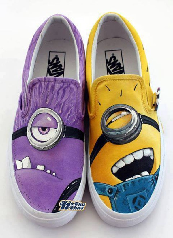 shoes minions vans cute my daily style cool бренд dress minions purple shoes purple yellow printed vans