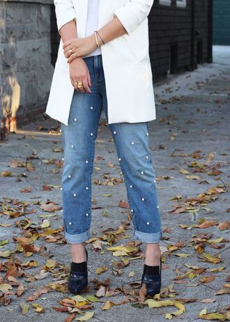 jeans embellished denim embellished cuffed jeans blue jeans shoes black high heels high heels white blazer blazer